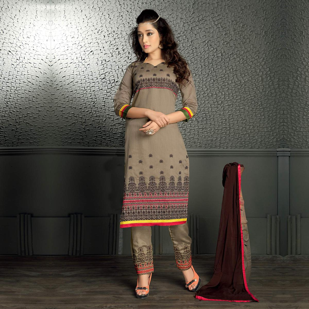Grey Straight Cut Chanderi Suit