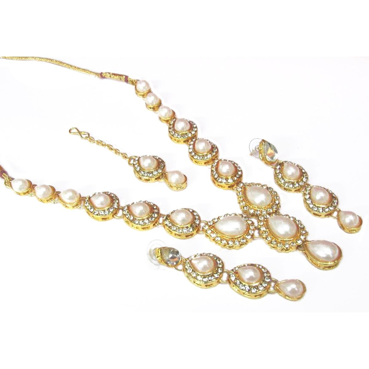 White Pearl Tilak Stone Necklace Set