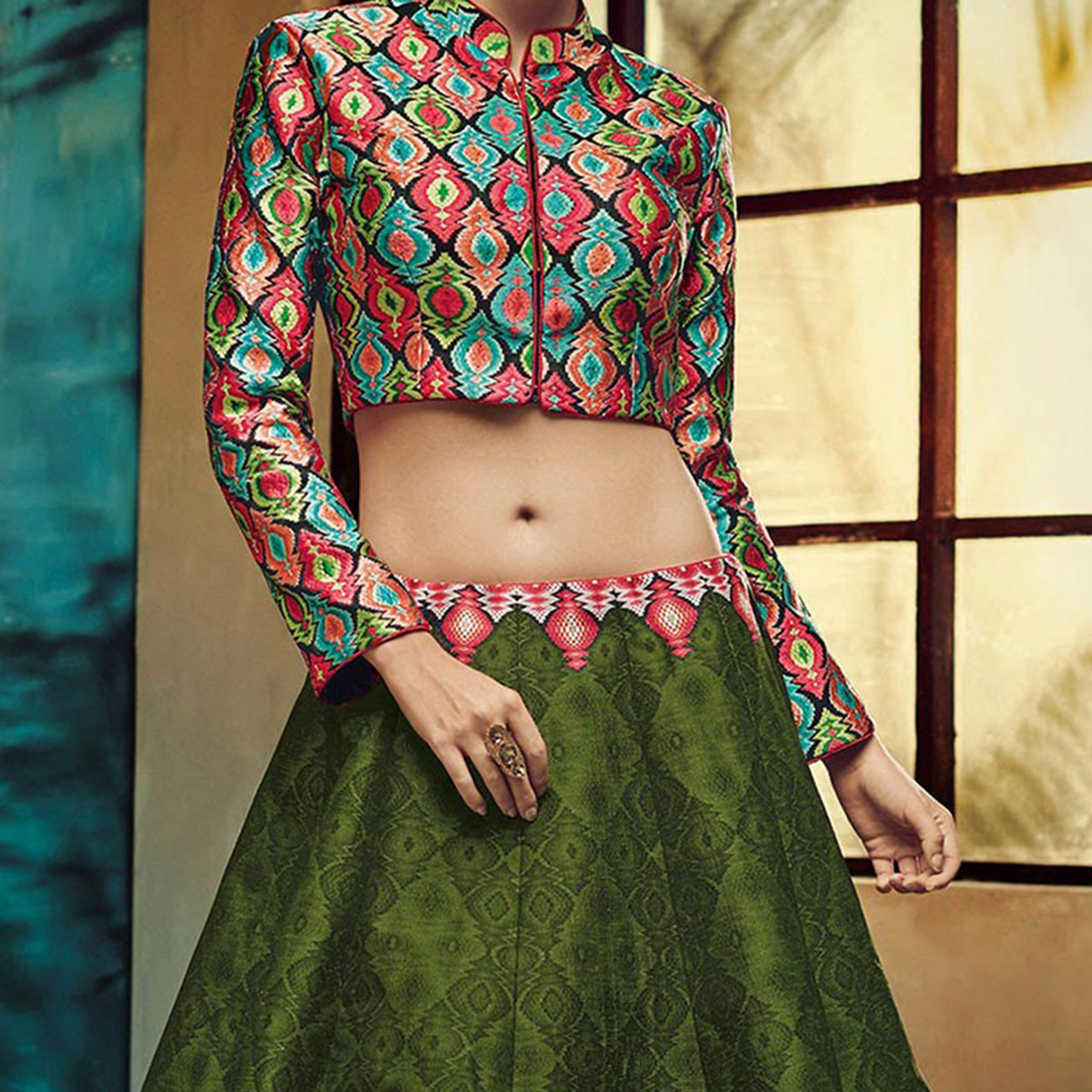 Green - Multicolored Banglori Silk Lehenga