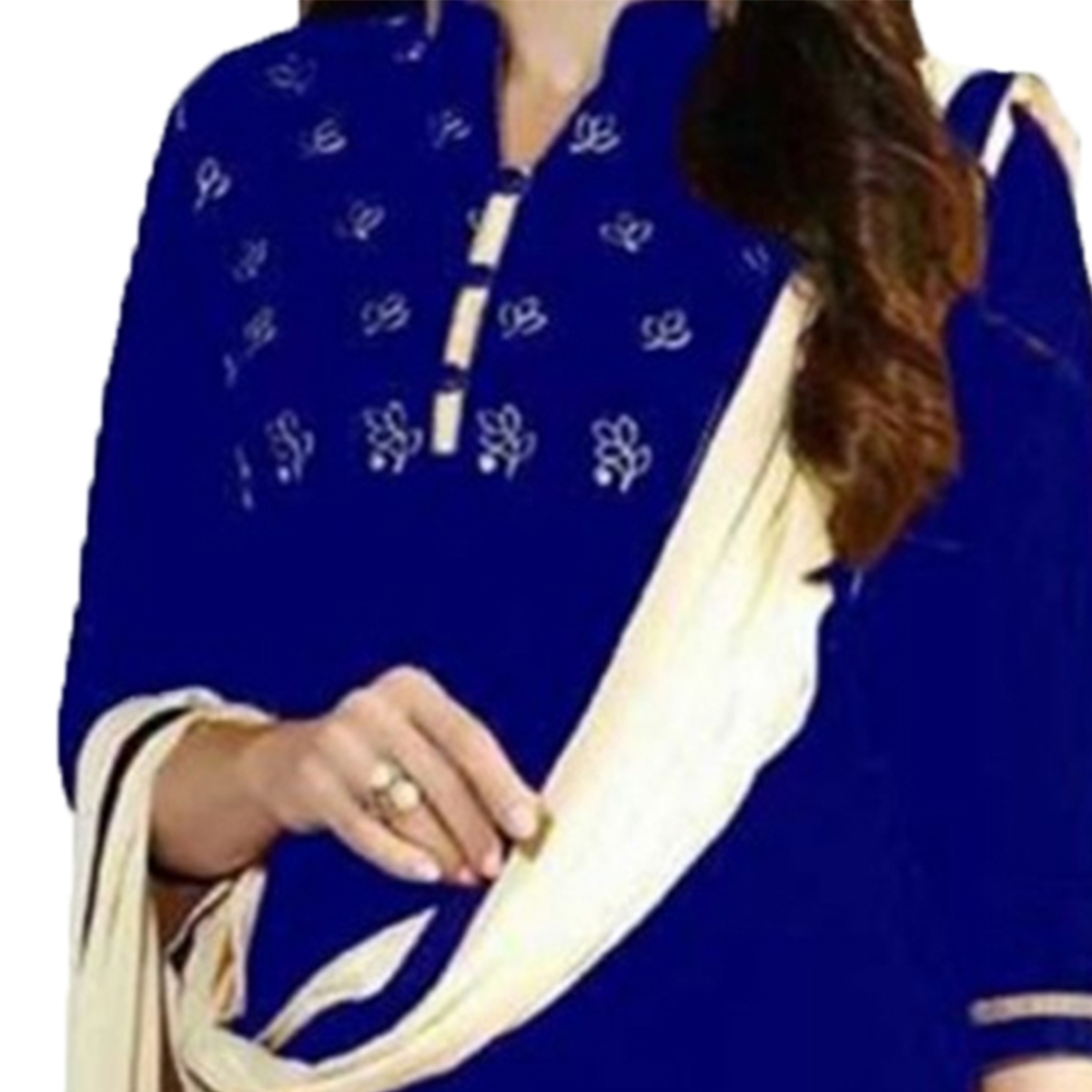 Royal Blue Casual Printed Patiala Suit