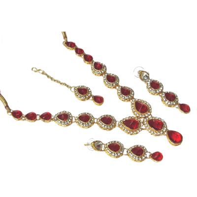 Red Tilak Stone Necklace Set