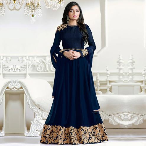 Blue Embroidered Work Anarkali Suit