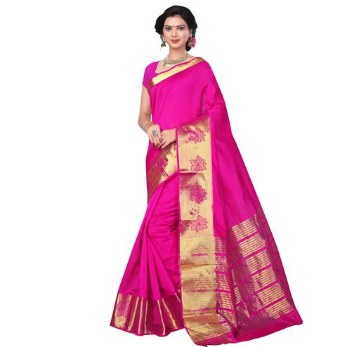 Pink Festive Wear Cotton Silk Saree