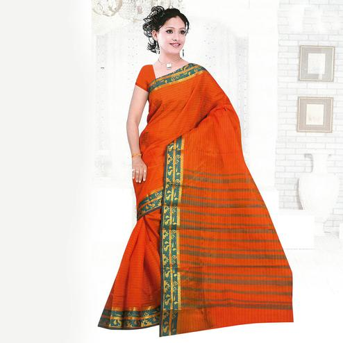 Orange Cotton Silk Woven Saree