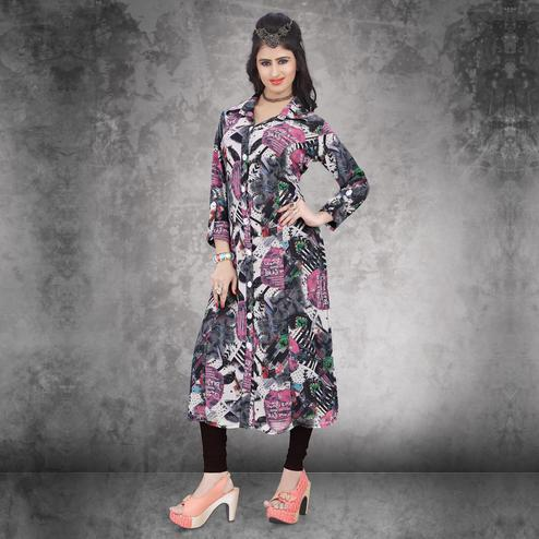 Off White - Black Long Kurti