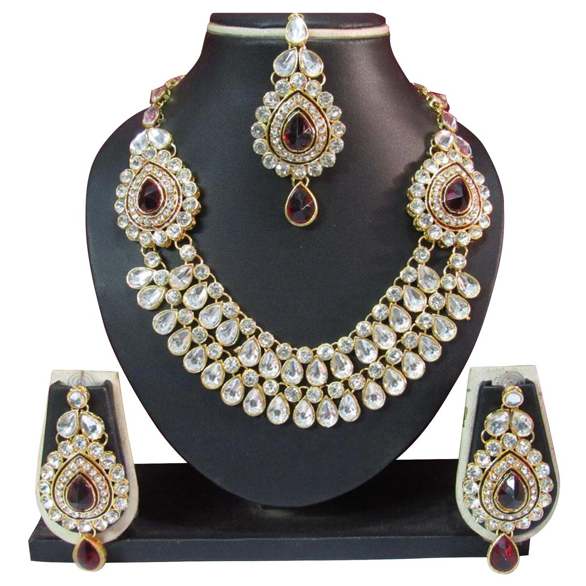 Maroon Stone Necklace Set with Maang Tikka