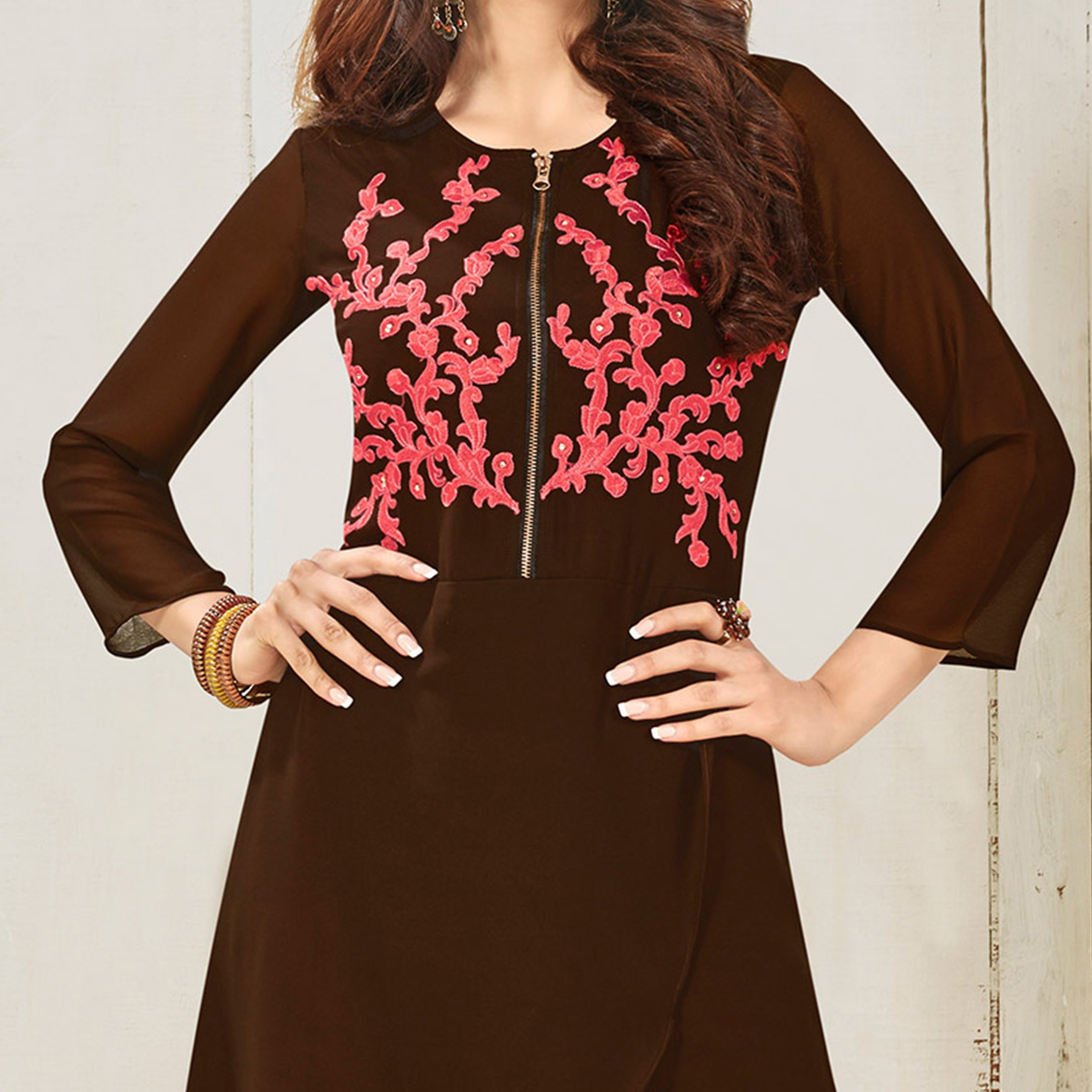 Brown Embroidered Work Kurti