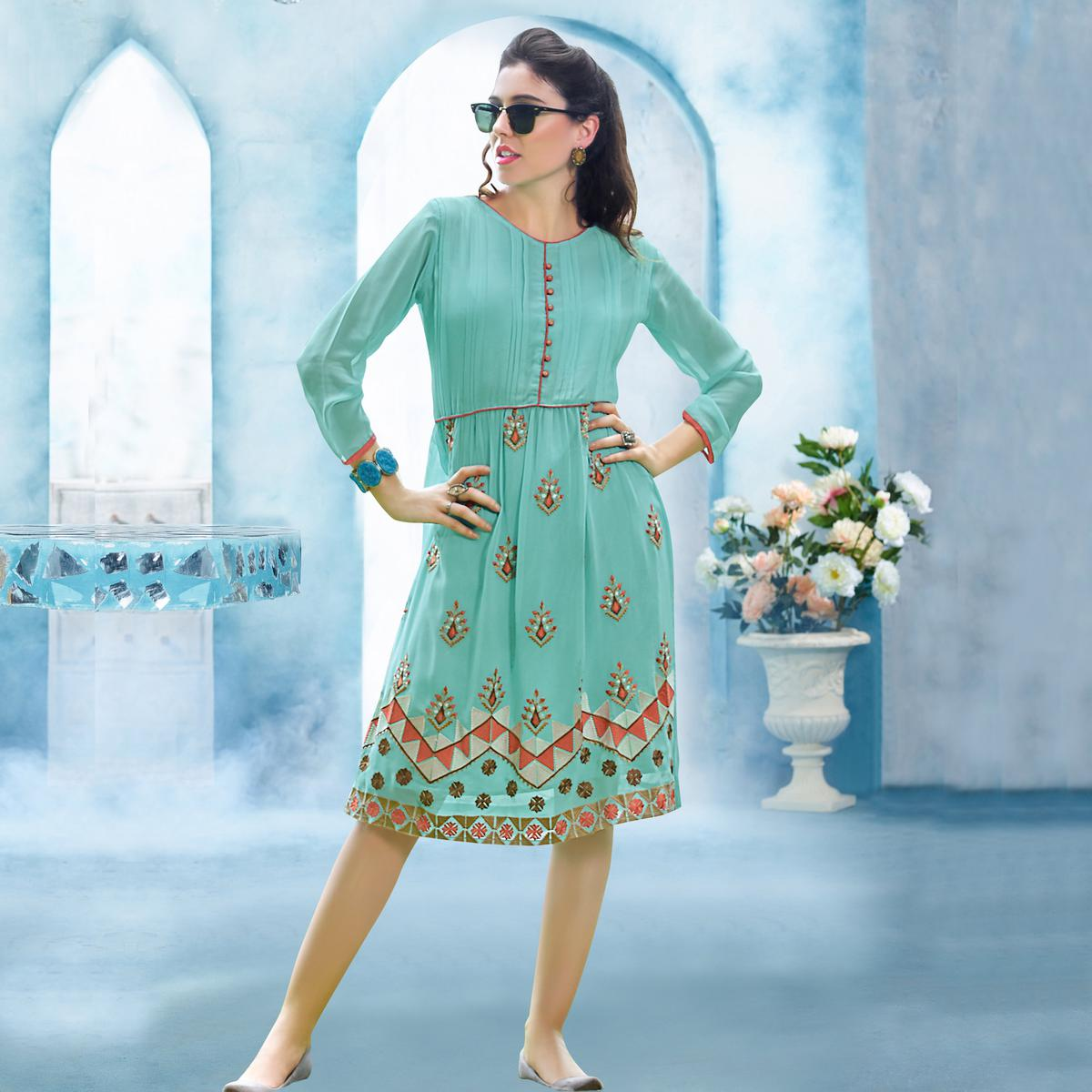 Turquoise Stitched Georgette Kurti