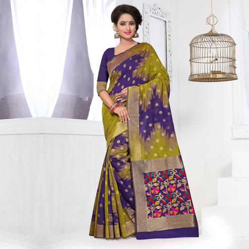 Olive Green - Navy Blue Festive Wear Saree