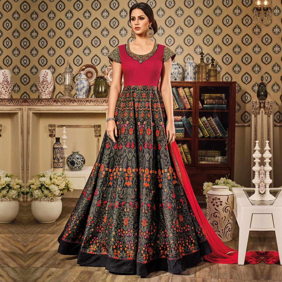 Black - Pink Art Silk Floor Length Anarkali Suit