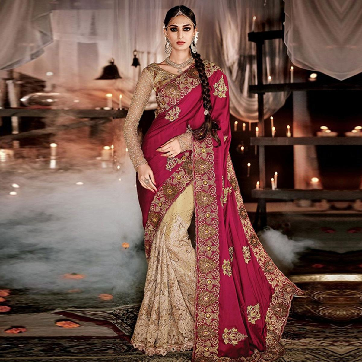 Maroon - Beige Heavy Embroidered Saree