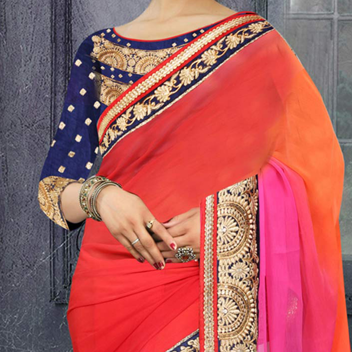 Multi Color Chiffon Georgette Saree