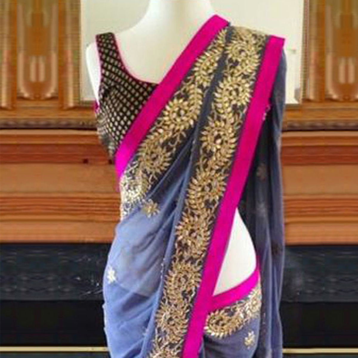 Beautiful Blue Party Wear Georgette Saree