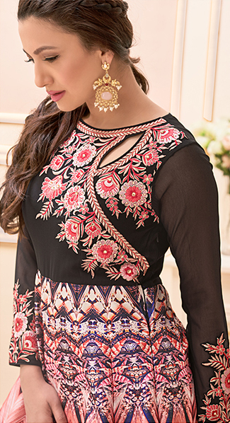 Black - Peach Designer Anarkali Suit