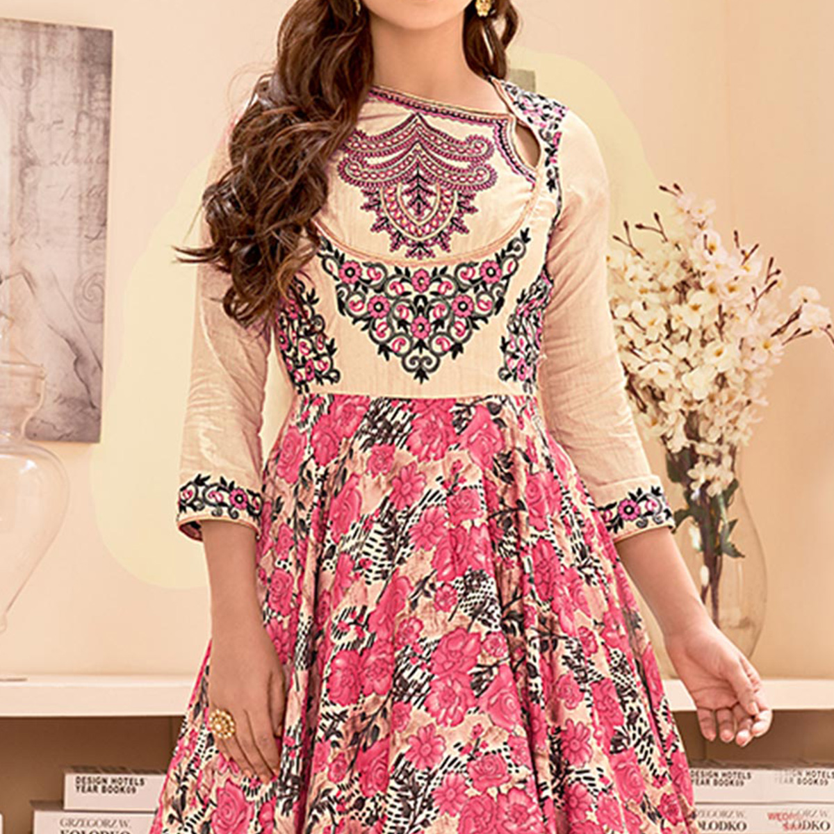 Cream - Pink Designer Anarkali Suit