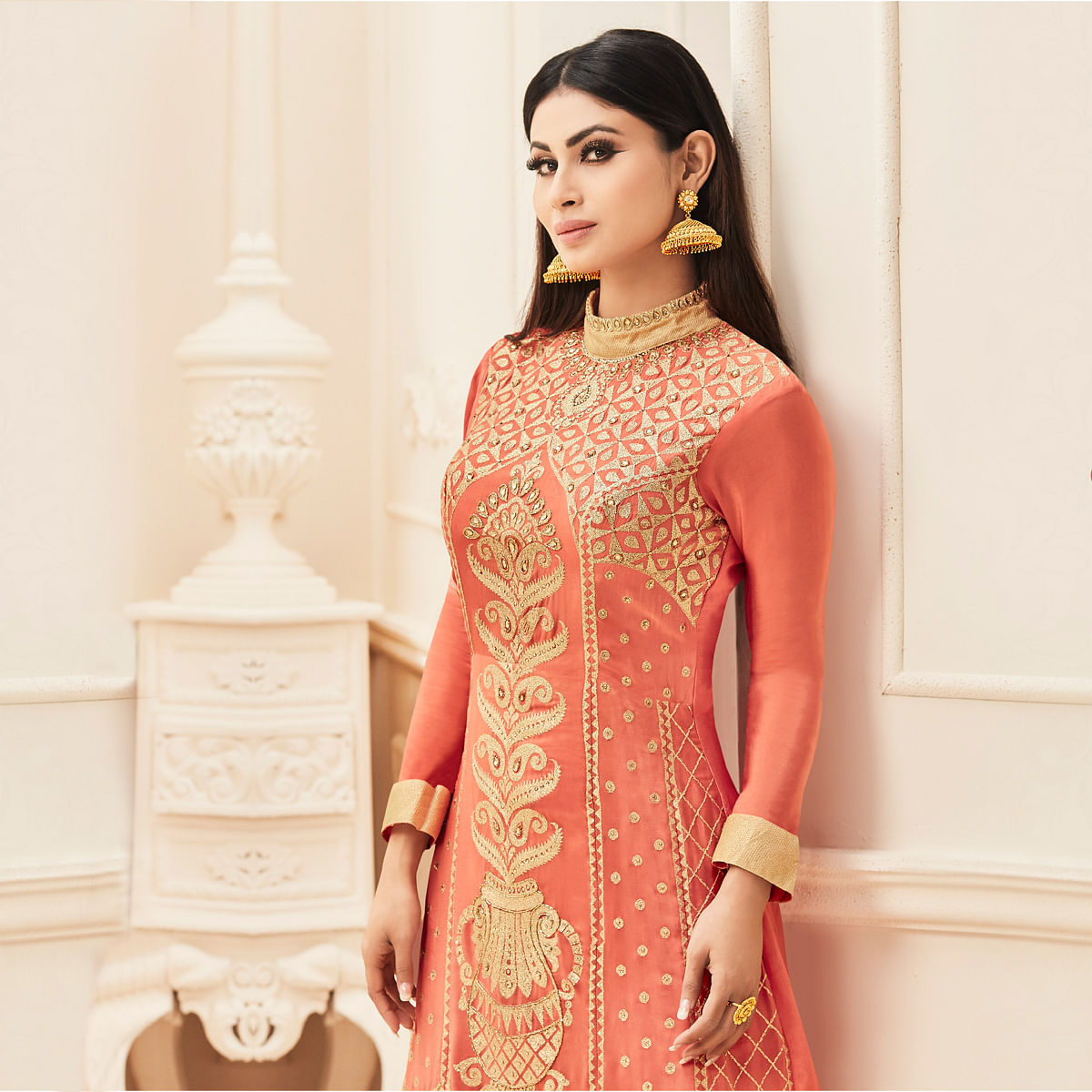 Peach Embroidered Work Faux Georgette Suit