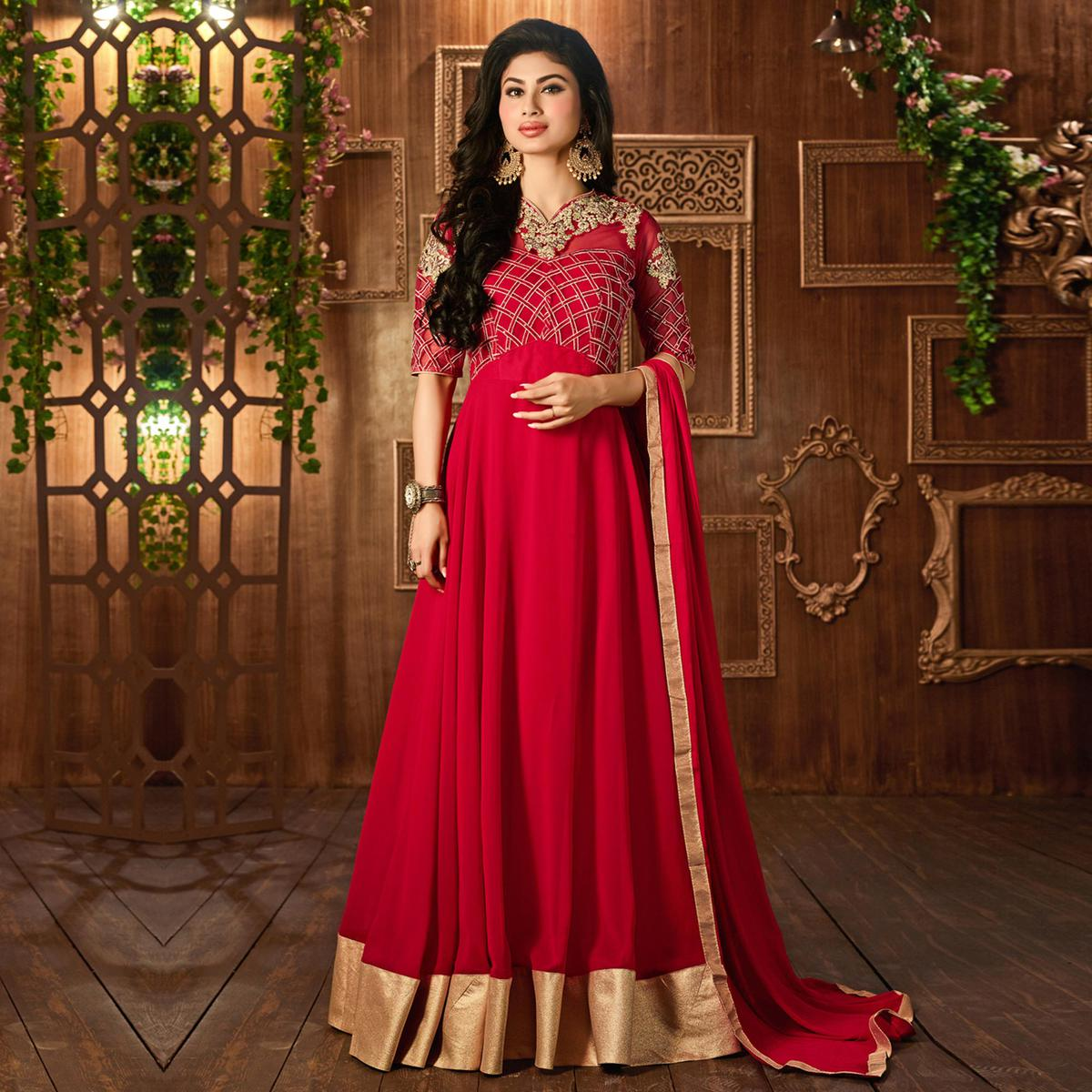 Red Georgette Anarkali Suit