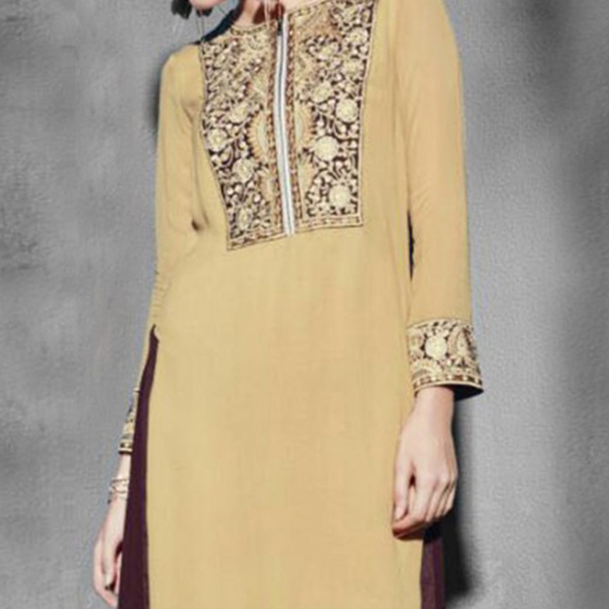 Tan Stitched Georgette Tunic
