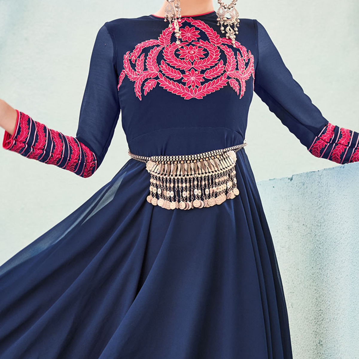 Georgette Blue Tunic with Embroidered Yoke