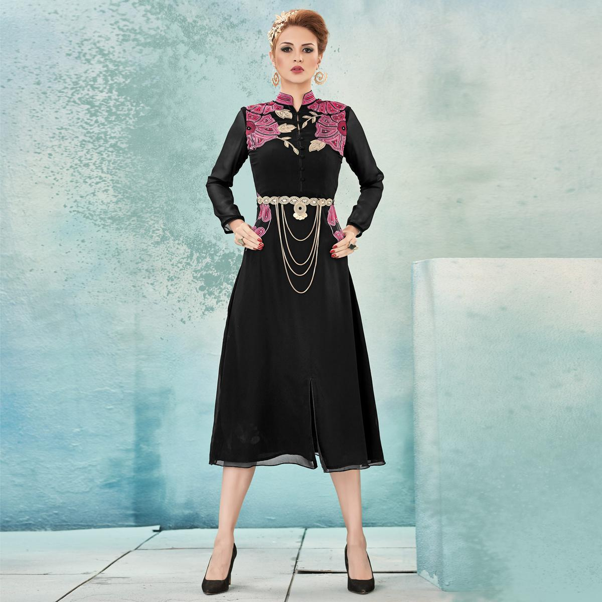 Black & Pink Heavy Embroidery Work Tunic