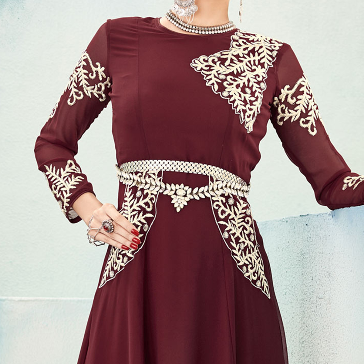 Adorable Maroon Georgette Tunic