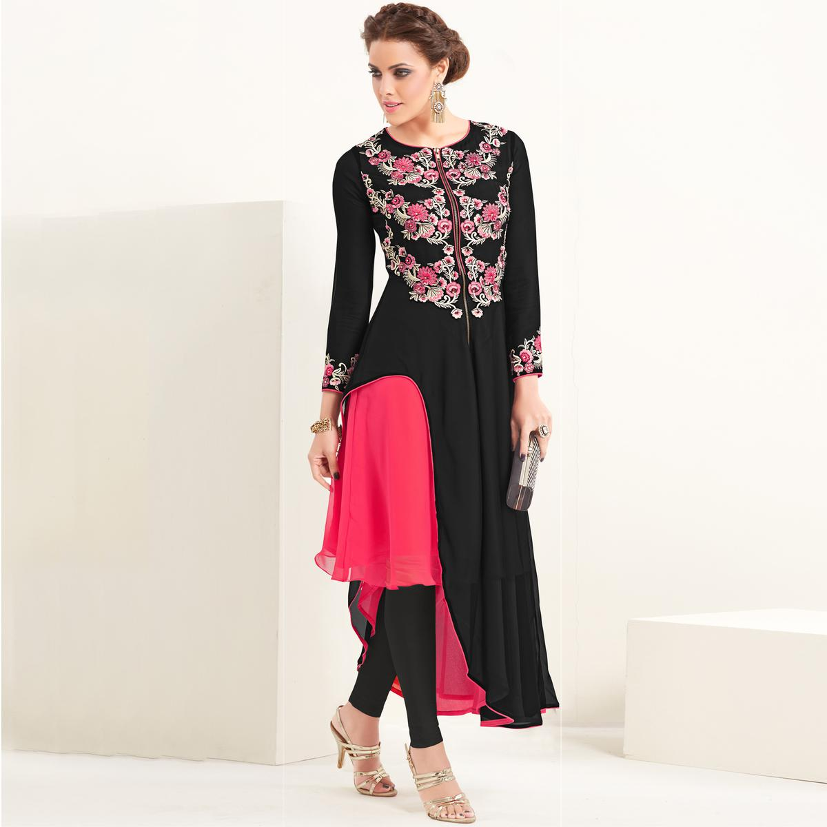 Buy black party wear asymmetrical hem kurti for womens online india best  prices reviews peachmode jpg bd240d786