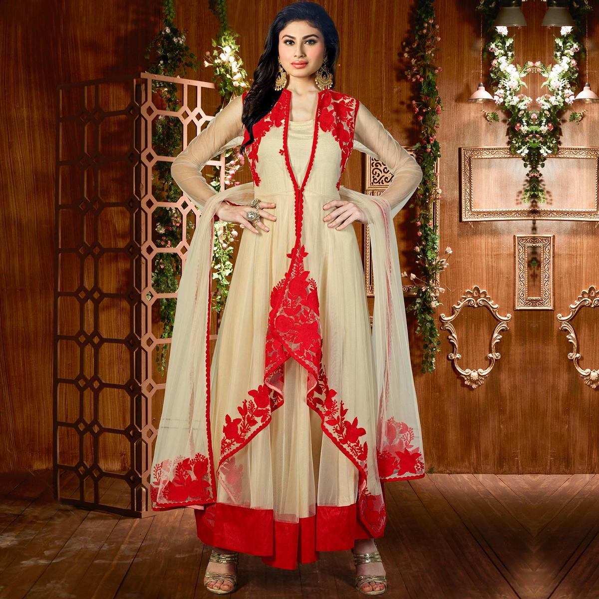 Red - Beige Embroidered Designer Suit