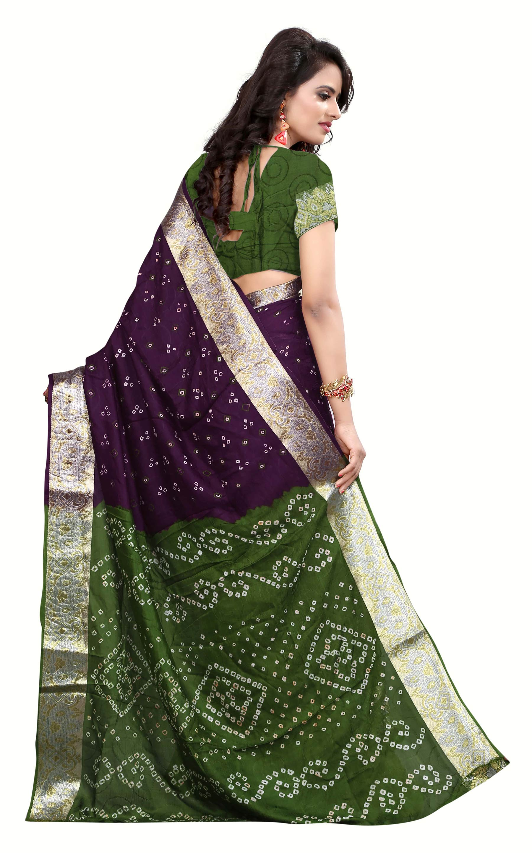 Purple - Green Lace Border Work Saree