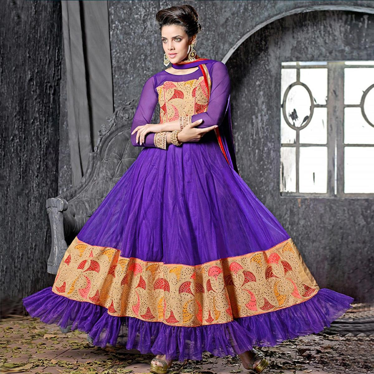 Purple Embroidered Work Anarkali