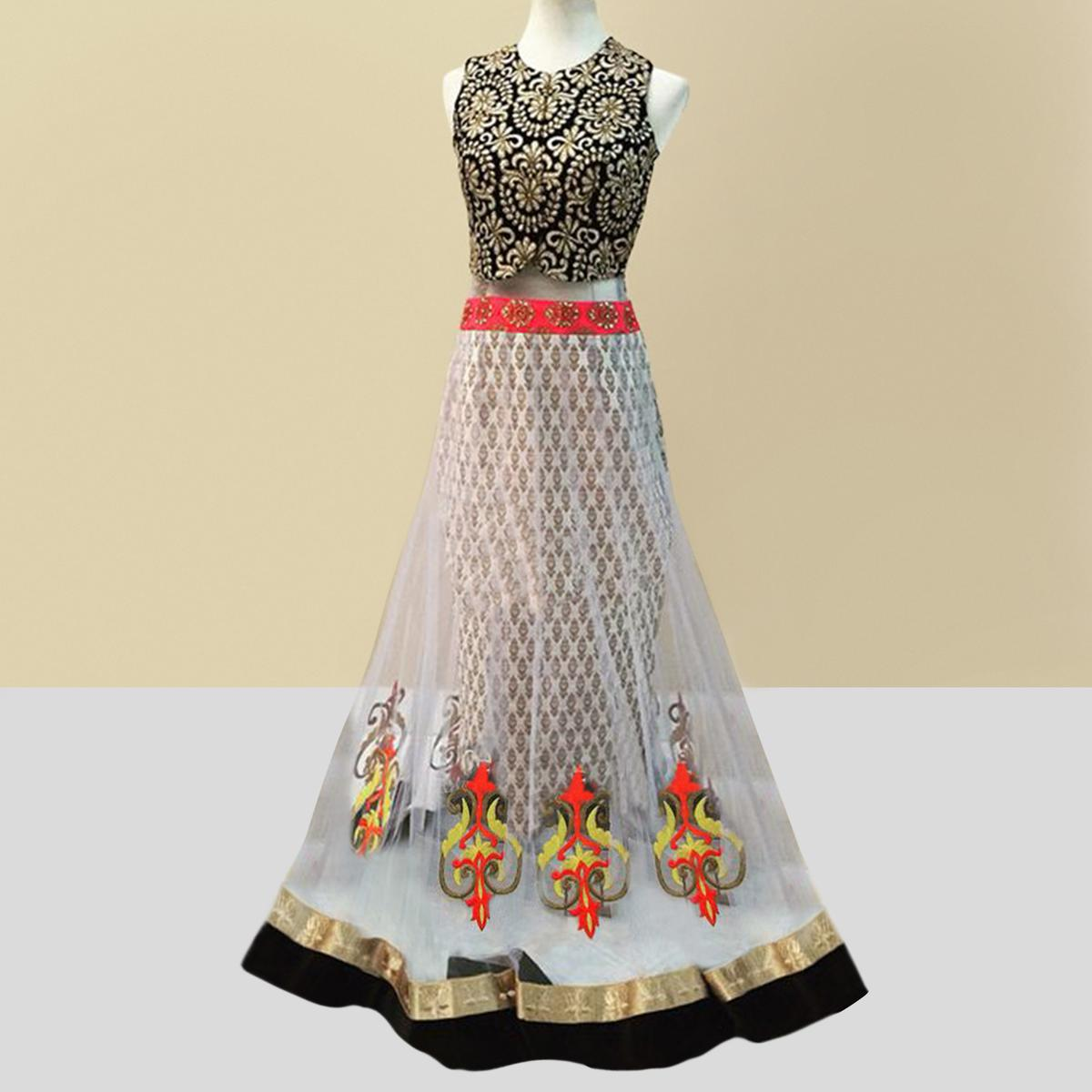 Cream Thread & Hand Work Lehenga Choli