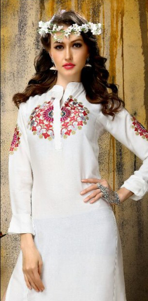 White Full Sleeves Embroidered Kurti