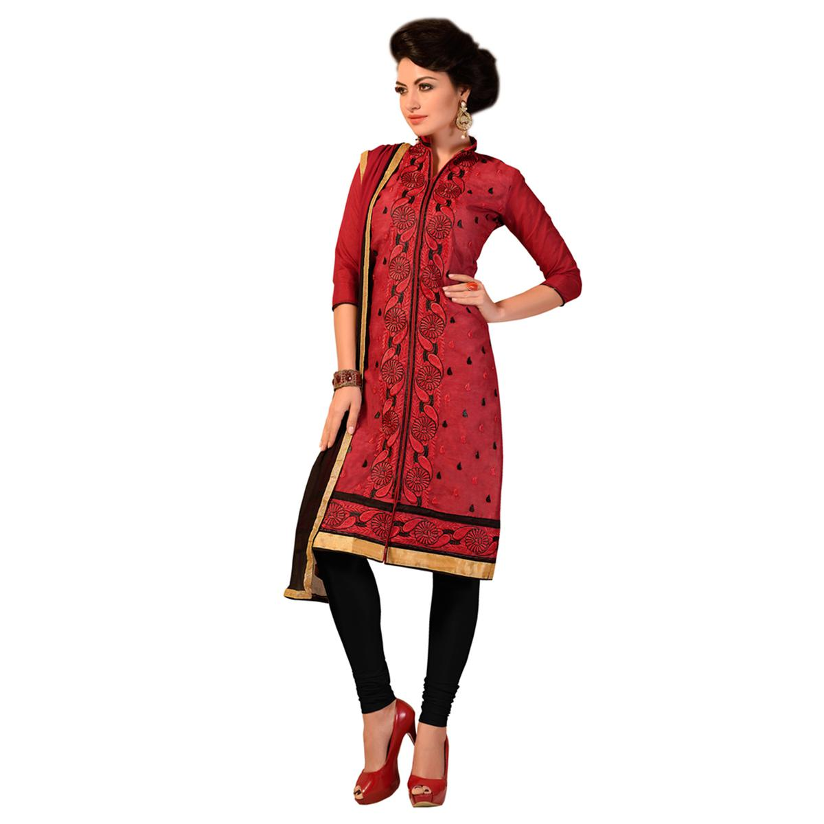 Red Embroidered Work Chander Suit