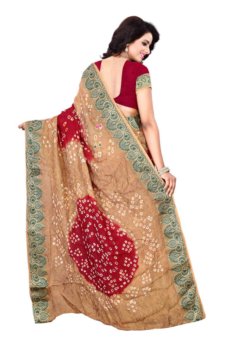 Red - Beige Bandhani Printed Saree