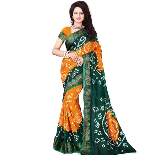 Orange - Green Jacquard Silk Saree