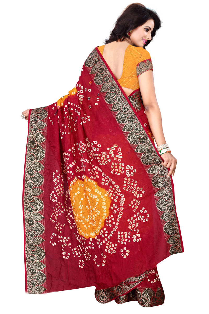 Yellow - Red Bandhani Printed Saree