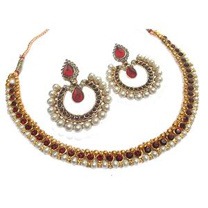 Maroon Pearl Stone Tilak Polki Necklace Set