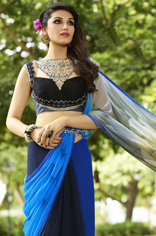 Blue - Grey Georgette Saree