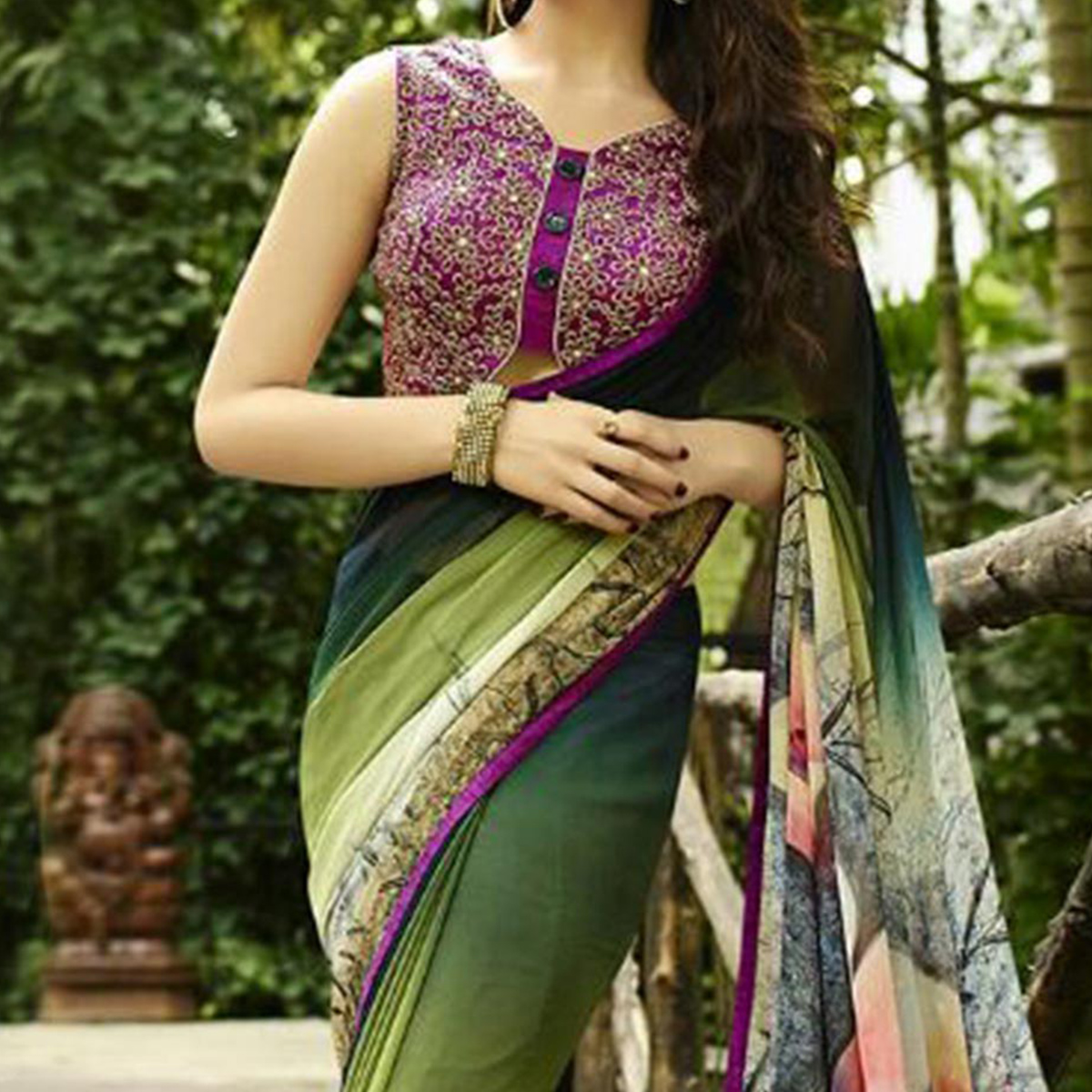 Shaded Green Floral Printed Saree