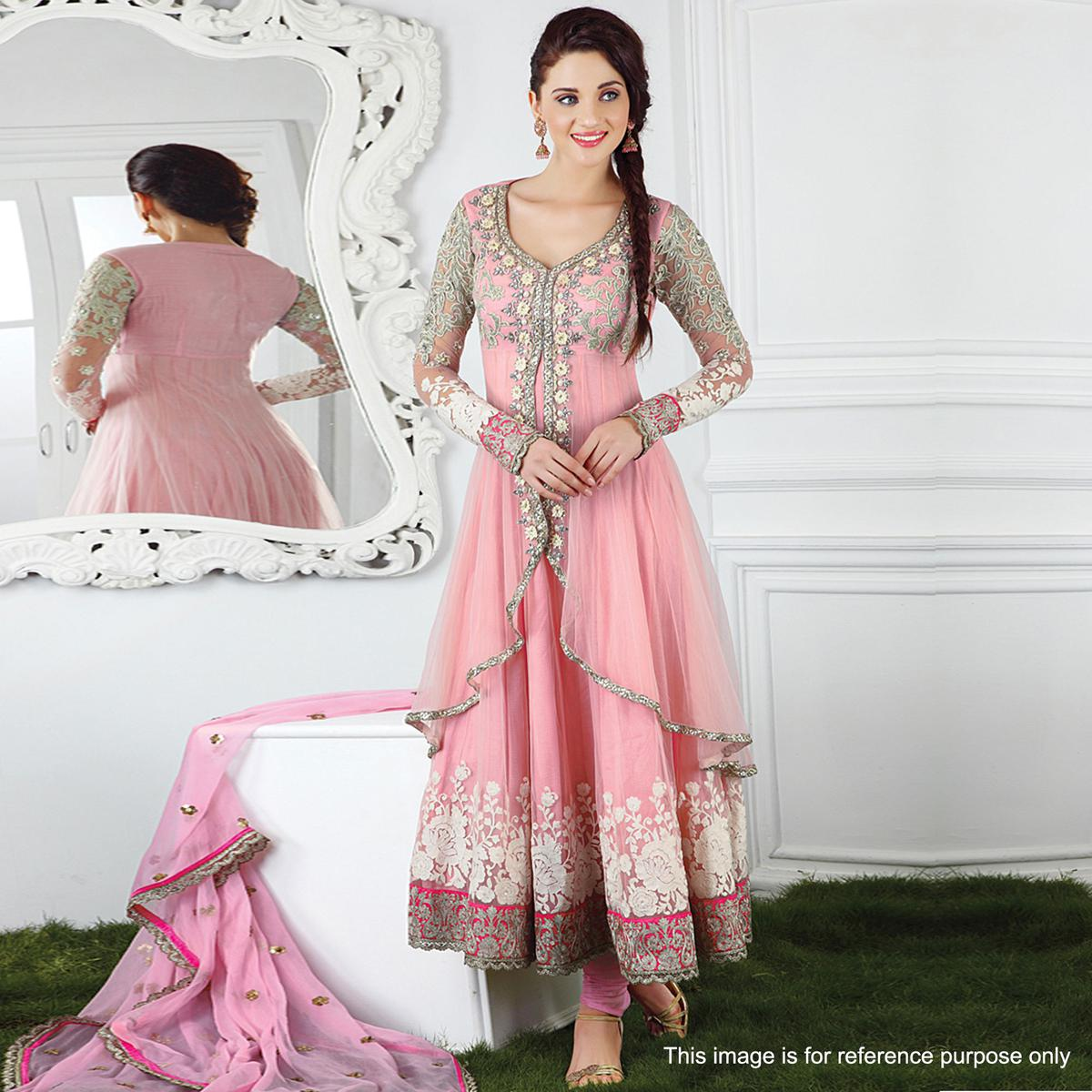 Pink Net Embroidered Anarkali Suit