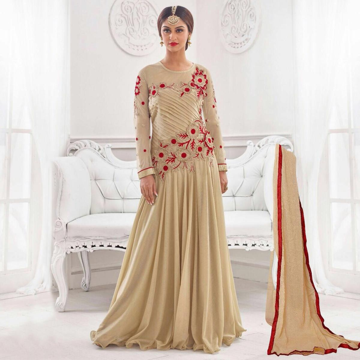 Light Beige Embroidered Work Party Wear Suit