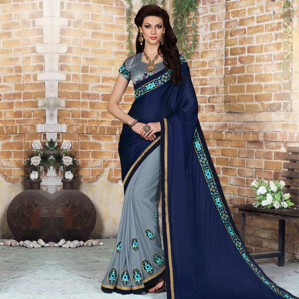 Navy Blue - Grey Half & Half Saree