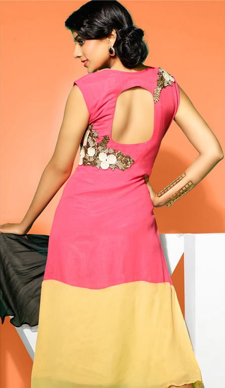 Pink - Yellow Faux Georgette Tunic