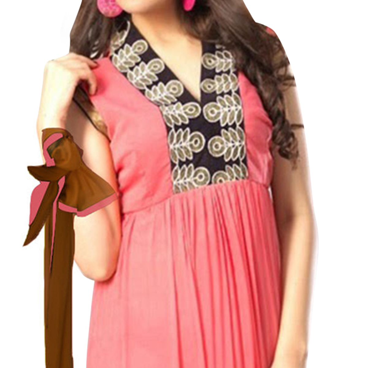 Peach - Brown Embroidered Work Anarkali Suit