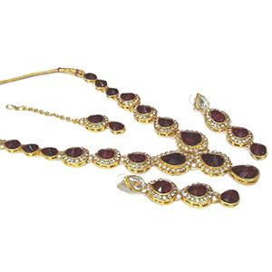 Maroon Tilak Stone Necklace Set