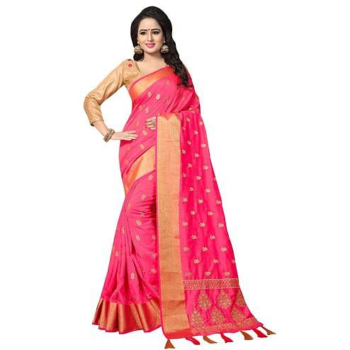 Stunning Dark Pink Colored Festive Wear Woven Work Silk Saree