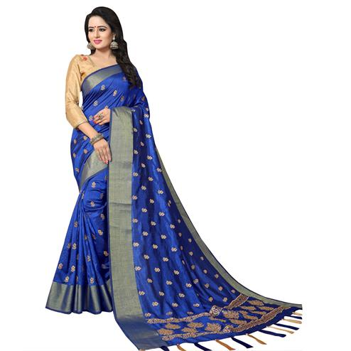 Blooming Blue Colored Festive Wear Woven Work Silk Saree