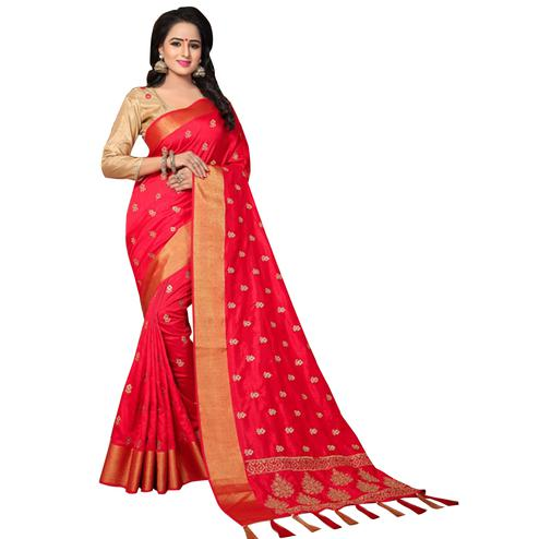 Marvellous Red Colored Festive Wear Woven Work Silk Saree