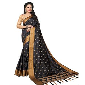 Mesmerising Black Colored Festive Wear Woven Work Silk Saree