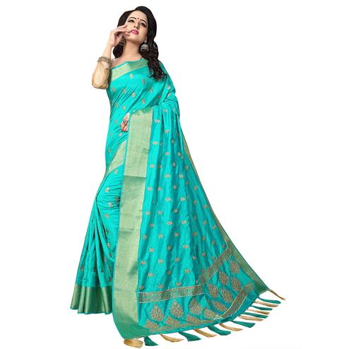 Ravishing Turquoise  Colored Festive Wear Woven Work Silk Saree