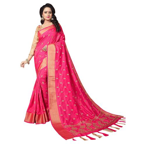 Eye-catching Magenta Colored Festive Wear Woven Work Silk Saree